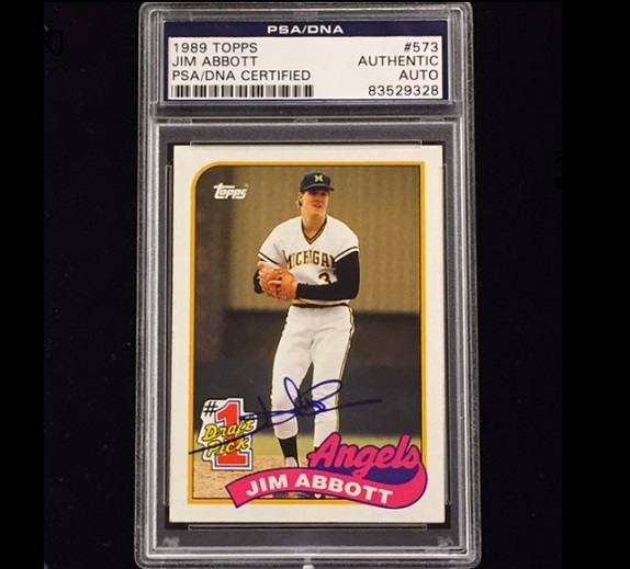 Jim Abbott Signed 1989 Topps Rookie Card Psadna Authenticated
