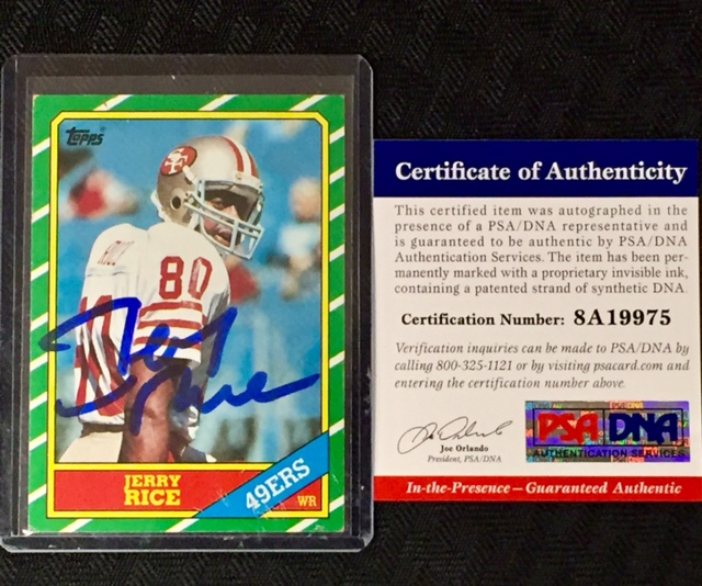 Jerry Rice Signed 1986 Topps Rookie Card Psa Coa