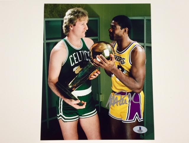 Magic Johnson With Larry Bird Signed 810 Photo 2 W Beckett Authentication Coa